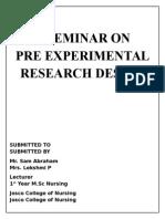 Priexperimental Research Design