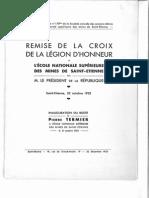 Compte-rendu et discours de la remise de la croix de la légion d'honneur du 22 octobre 1933