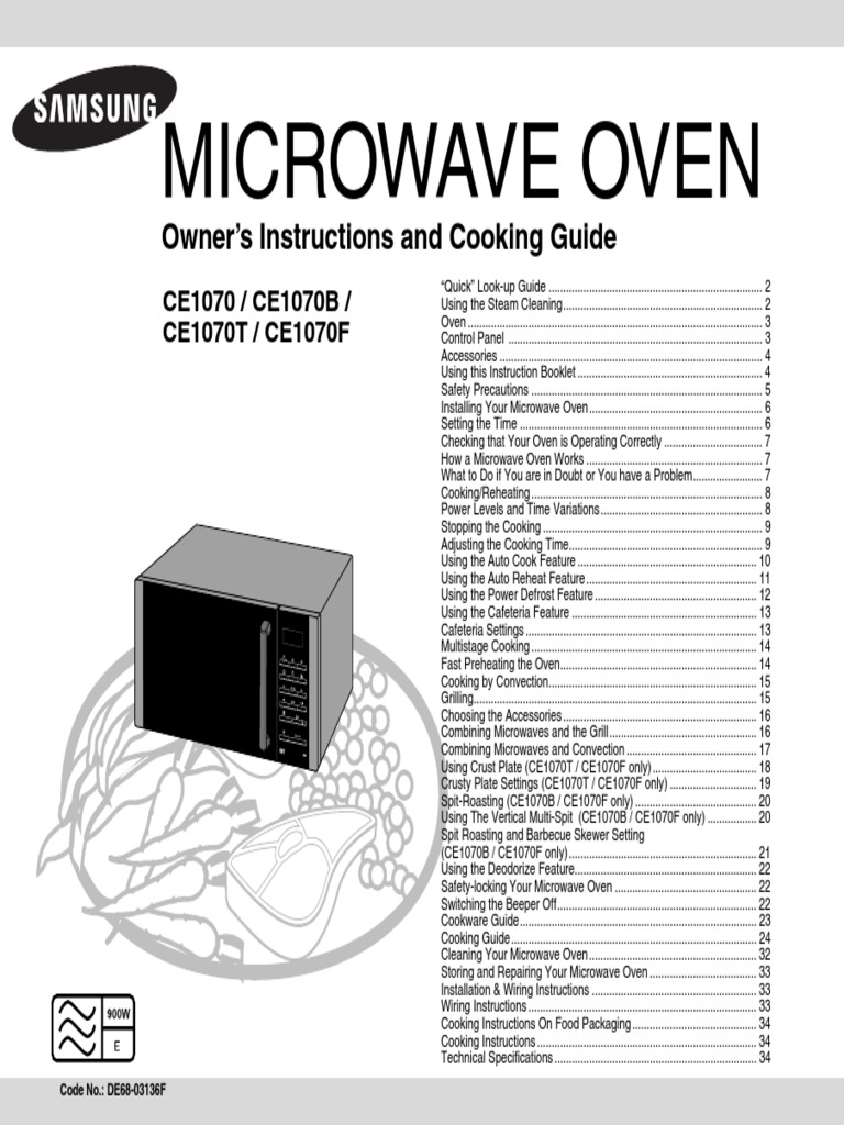 Samsung Ce1070 Microwave Manual Oven Roasting