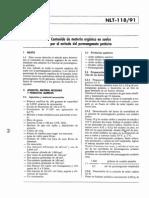 NLT 118-19 Determinacion Del Contenido de Materia Organica Oxidable en Suelos Por El Metodo Del Permanganato Potasico