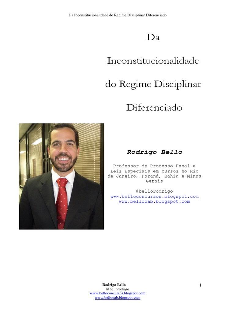 O regime disciplinar diferenciado é constitucional ou inconstitucional