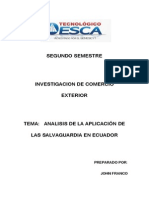 Analisis de La Aplicacion de Las Salvaguardias en Ecuador
