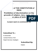 Prohibition of Discrimination on the Grounds of Religion