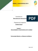 U1. Generalidades y Caracteristicas de La Calidad