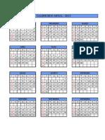 Calendário Anual - 2015 - Folha Única