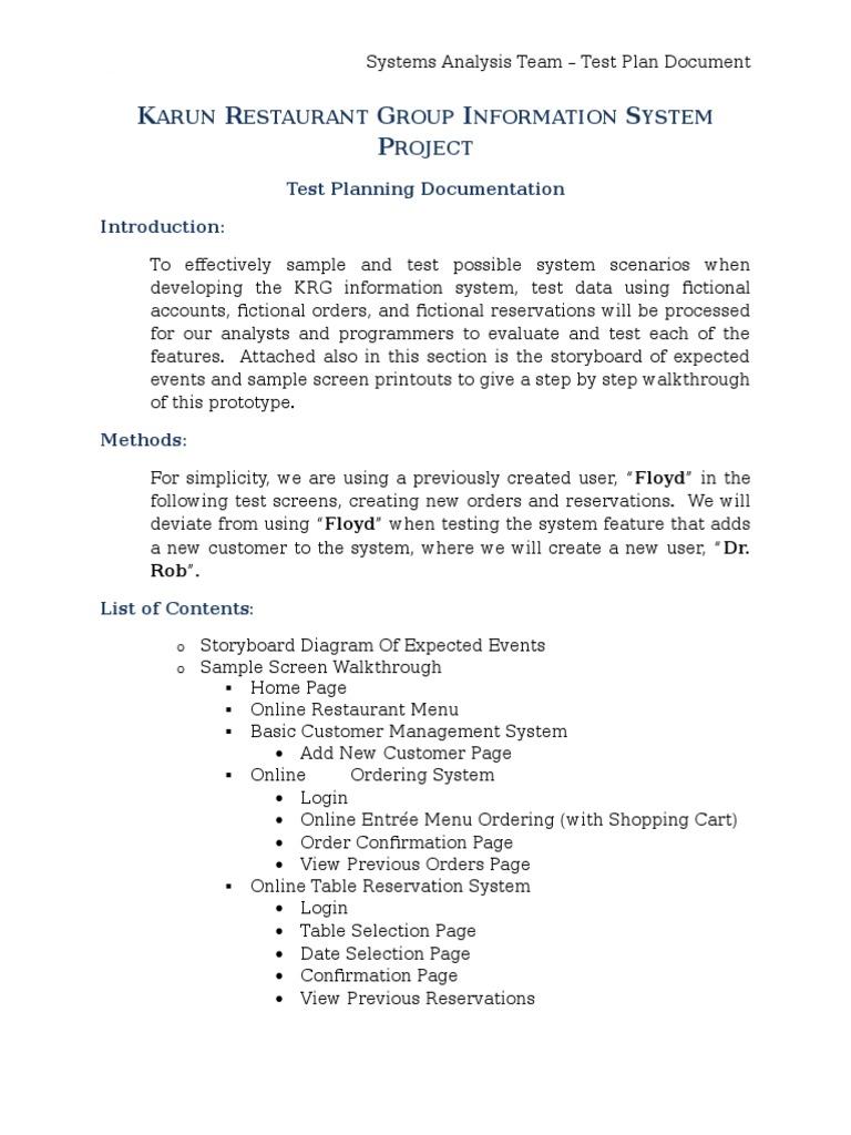 Restaurant management system documentation