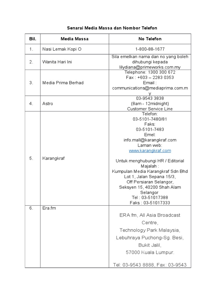 Senarai Media Massa Dan Nombor Telefon