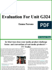 Final Evaluation for Unit G324