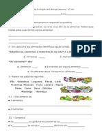 Ficha de Avaliação de Ciências Naturais (Os Nutrientes2)