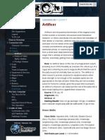 Artificer - Eberron Pathfinder