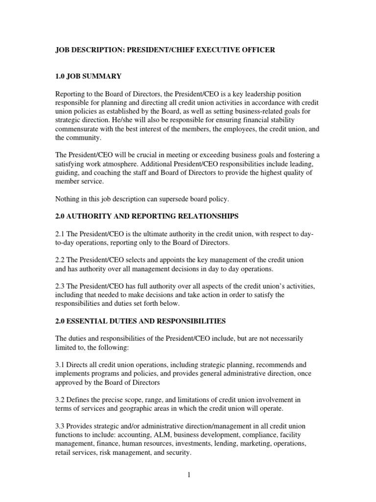 Ceo Job Description | Job Description Nwgacu Ceo Pdf Chief Executive Officer Credit