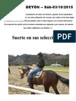 SABADO  03 DE OCTUBRE TRAQUEOS DEYON