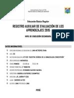 Registro Auxiliar rutas de aprendizaje matematicas secundaria 1°A 2015