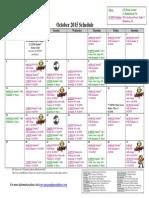 SCDNF October 2015 Schedule