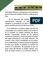Honorables Hermanos, Participantes en La Conferencia de Los Pueblos Para Cambio Climático y Defensa de La Vida:
