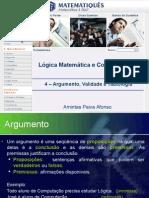 Lógica Unidade 6 - Argumento, Validade e Tautologia