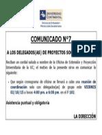 Comunicado - Reunión Delegados