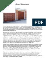 Facts About Garage Doors Maintenance