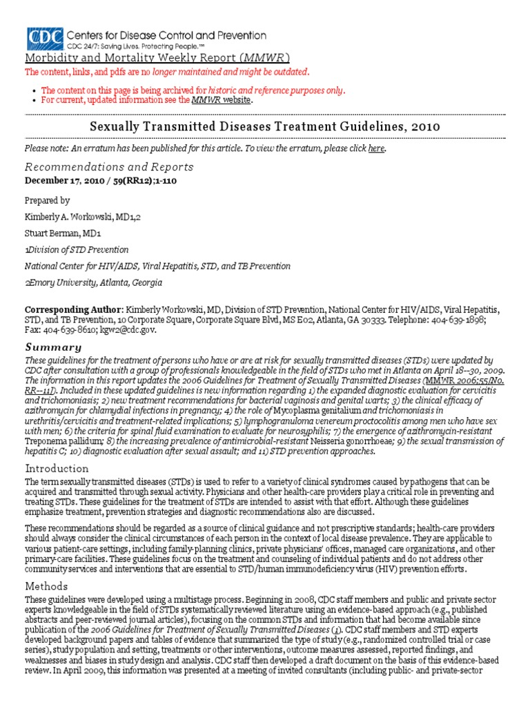 Sexually transmitted diseases treatment guidelines mmwr