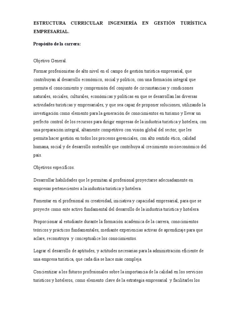 Estructura Curricular, Proposito de La Carrera, Perfiles in-out ...