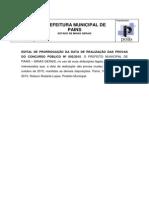 Extrato Edital Concurso Publico 002 2015 Pains 2ª Retificação