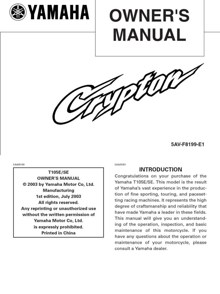 [DIAGRAM_4PO]  Yamaha Crypton T105E Owners Manual | Tire | Motorcycle | Wiring Diagram Of Yamaha Crypton |  | Scribd