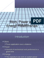 Work, Power and Energy Relationships