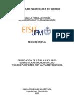 Fabricación de Células Solares sobre Silicio Multicristalino y Silicio purificado por la vía metalúrgica