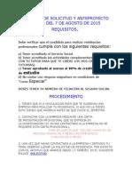 Entrega de Solicitud y Anteproyecto Antes Del 7 de Agosto de 2015