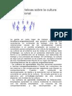 Características Sobre La Cultura Organizacional