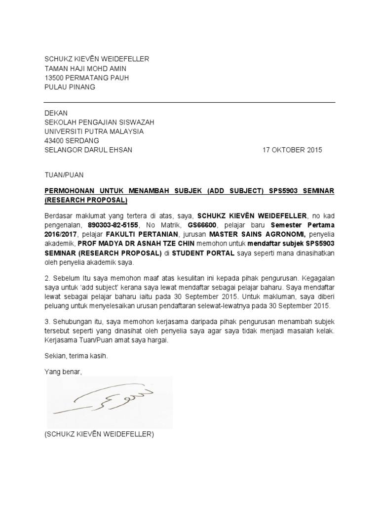 contoh surat rasmi permohonan untuk menambah subjek kursus