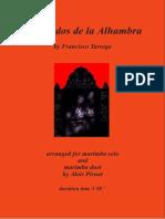 TARREGA, FRANCISCO - Recuerdos de La Alhambra (Marimba)