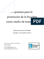 Propuestas para la promoción de la bicicleta como medio de transporte. Intervención de Biciescuela Granada en el Observatorio  de la Movilidad de Granada