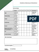 Checkliste Zur Bewertung Von Fachpraesentationen