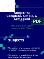 simple complete and compound subjects