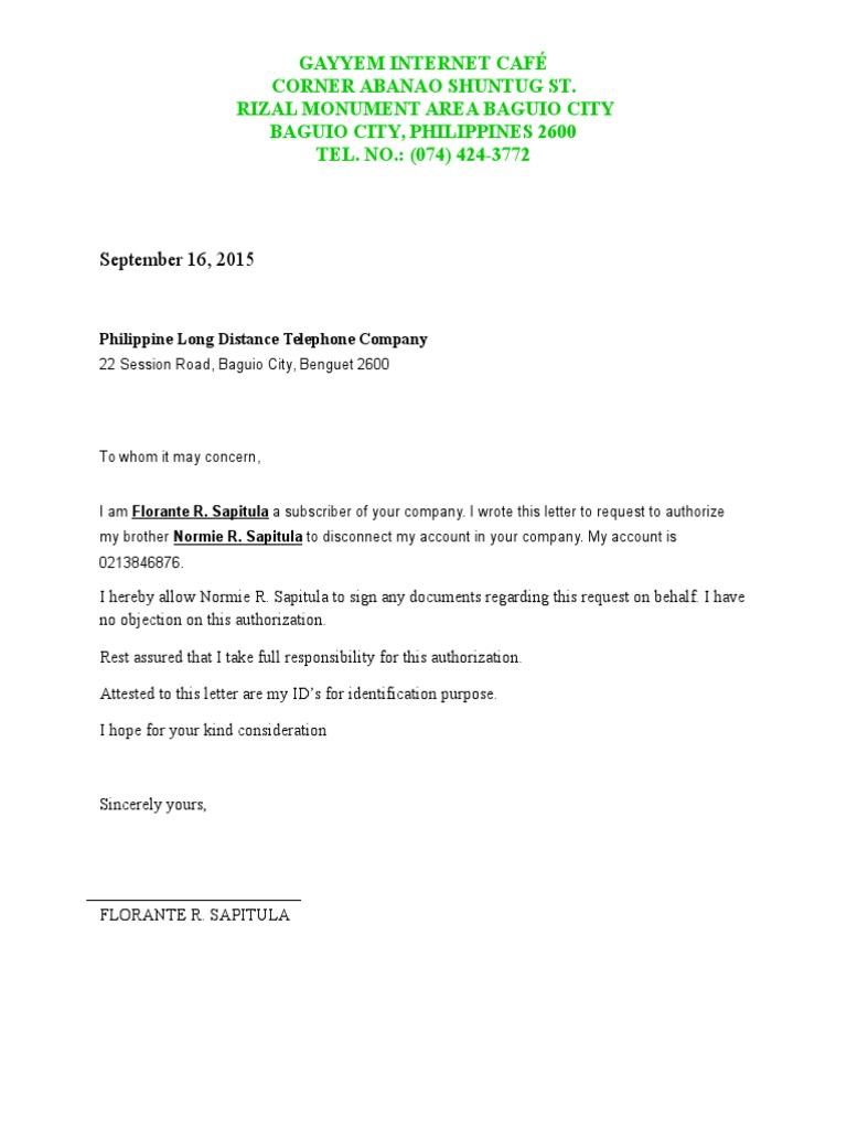 Letter for disconnection pldt authorization letter for disconnection pldt altavistaventures Gallery