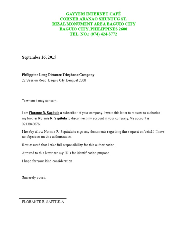 Authorization letter for disconnection pldt spiritdancerdesigns Gallery