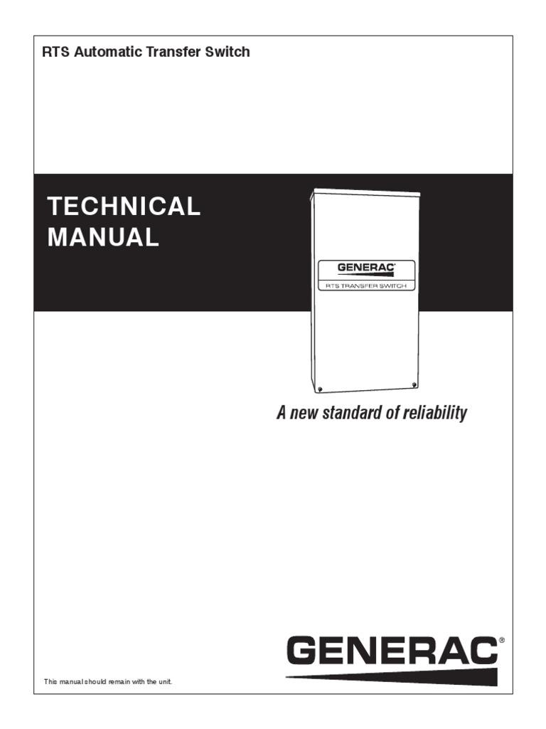 Rts Automatic Transfer Switch Technical Manual Generacpdf Generac Wiring Diagram Electric Generator
