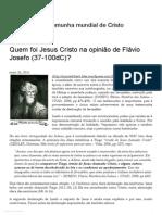 Quem Foi Jesus Cristo Na Opinião de Flávio Josefo