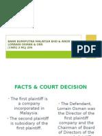 Bank Bumiputra Malaysia Bhd & Anor v Lorrain Osman & Ors [1985] 2 Mlj 236