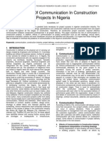 On the Role of Communication in Construction Projects in Nigeria