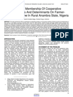 Effects of Membership of Cooperative Organisations and Determinants on Farmer Members Income in Rural Anambra State Nigeria