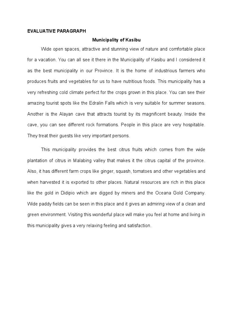 Evaluative Paragraph