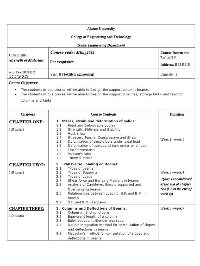 Courseoutline - Strength of Materials | Beam (Structure) | Bending