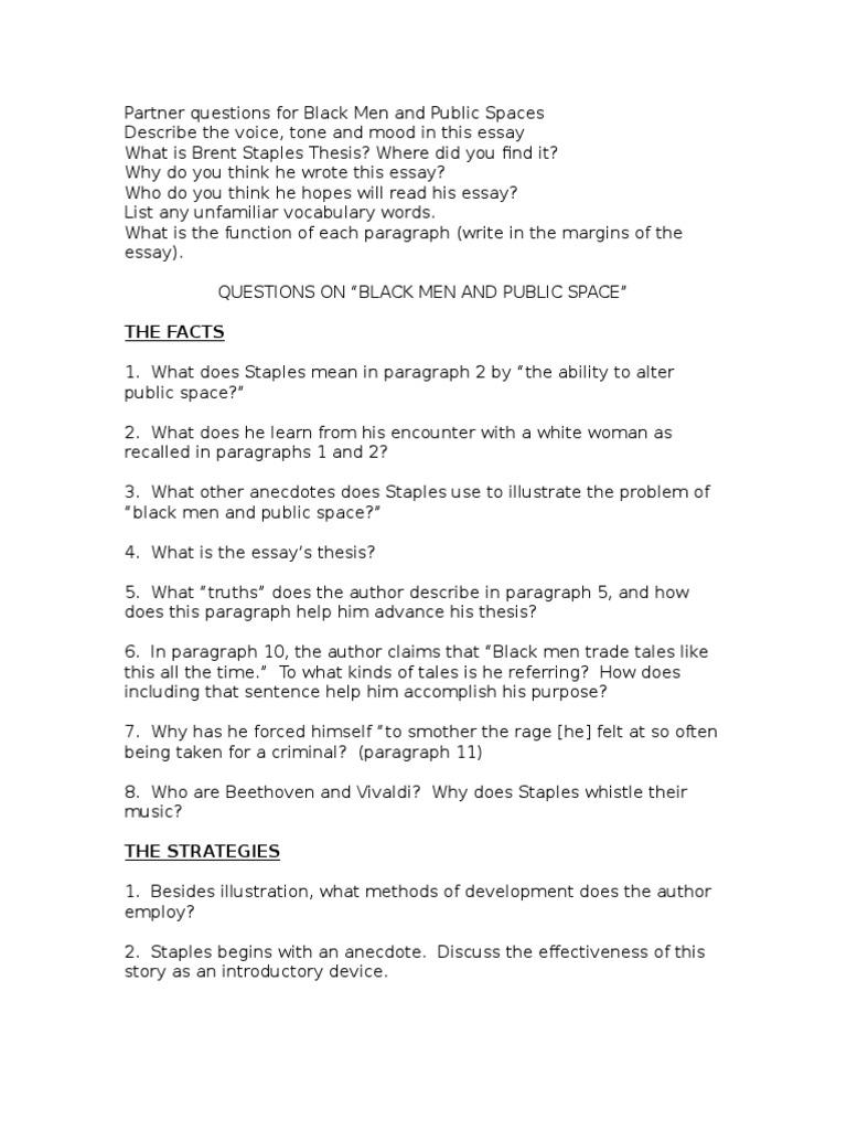 questions for black men and public spaces essays