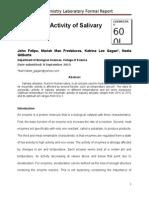 Enzymatic Activity of Salivary Amylase Formal Report