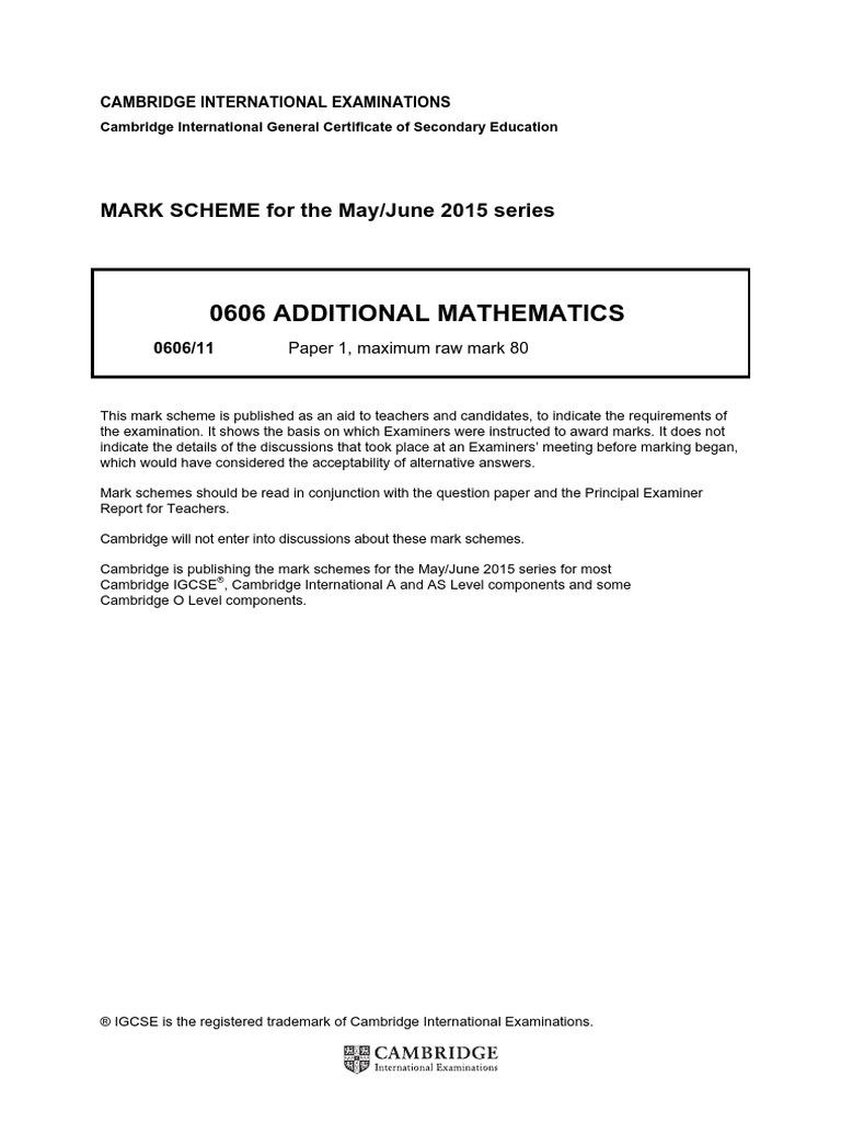 IGCSE Add Maths June 2015 MS | Trigonometric Functions | Mathematical  Concepts