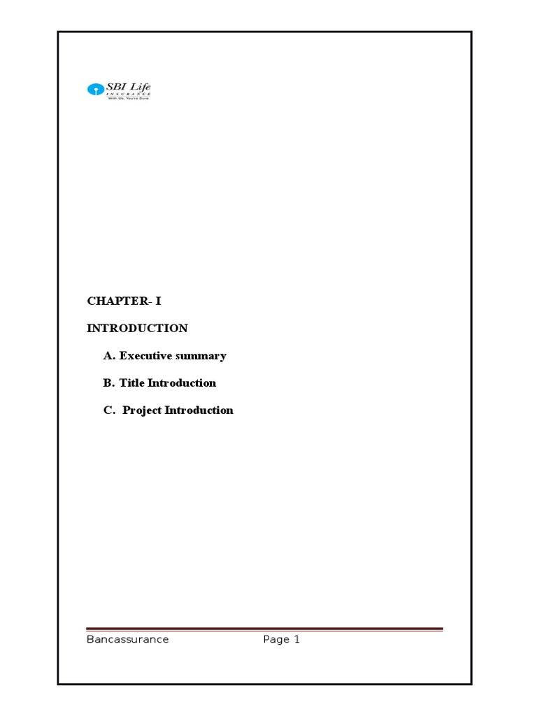 Chapter-I A. Executive summary B. Title Introduction C