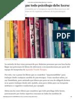 Cinco Libros Que Todo Psicólogo Debe Leerse - Psyciencia