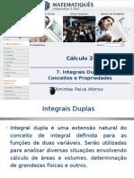 Cálculo Diferencial e Integral 2 -Unidade 7- Integral Dupla - Conceitos e Propriedades